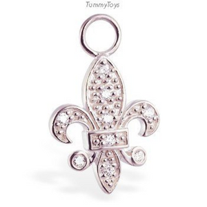Changeable Fleur-De-Lis Belly Ring Swinger Charm - TummyToys