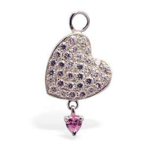 Changeable CZ Heart Belly Ring Swinger Charm Only - TummyToys