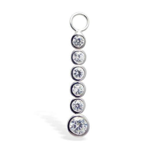 Changeable Clear CZ Dangle Belly Ring Swinger Charm - TummyToys
