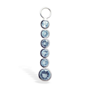 Changeable Blue CZ Dangle Belly Ring Swinger Charm - TummyToys