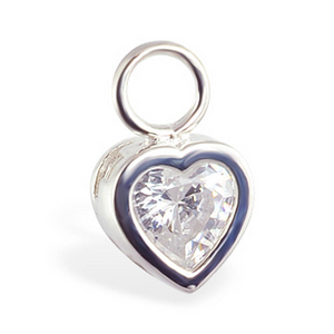 Changeable CZ Heart Belly Ring Swinger Charm ONLY In14k White Gold - TummyToys
