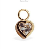 Changeable CZ Heart Belly Ring Swinger Charm 14K Yellow Gold