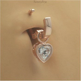 Solid 14K Rose Gold Belly Ring Heart Charm | Charm Only - TummyToys