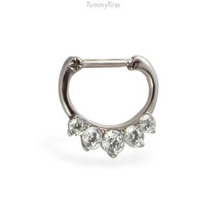 Surgical Steel Septum Clicker with 5 Glittering CZ Stones - TummyToys