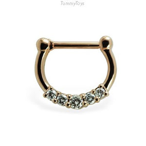 14K Yellow Gold Septum Clicker with Natural Diamonds - TummyToys