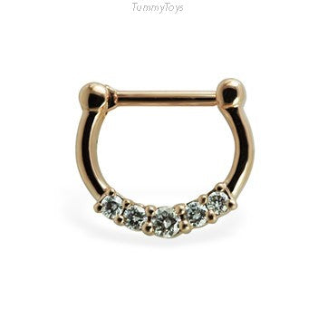 Solid 14K Rose Gold Septum Clicker with Diamonds - TummyToys