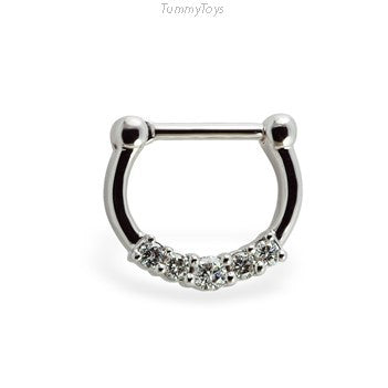 Solid 14K White Gold & Diamond Septum Clicker - TummyToys
