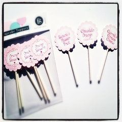 Feather Grey personalised cupcake toppers