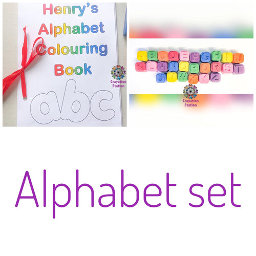 Alphabet set- small alphabet blocks crayon set & colouring book