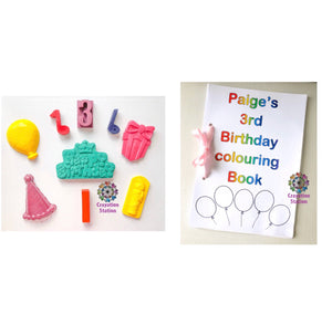 Mega birthday crayon set & handmade birthday colouring book