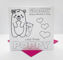 Load image into Gallery viewer, Teddy bear Mother's day Colouring Card & crayons Set