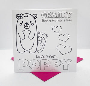 Teddy bear Mother's day Colouring Card & crayons Set