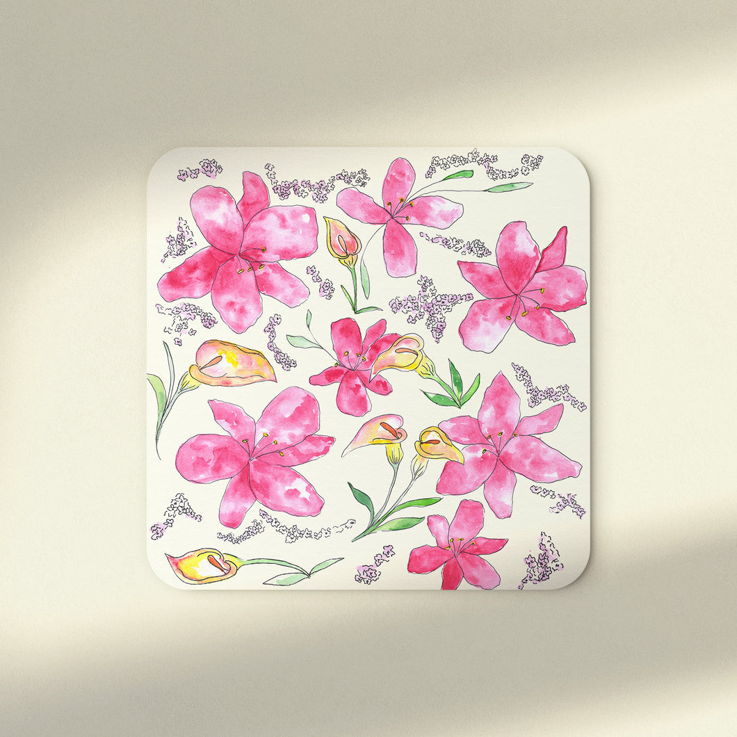 Lilies & Lavender Set of 4 Coasters