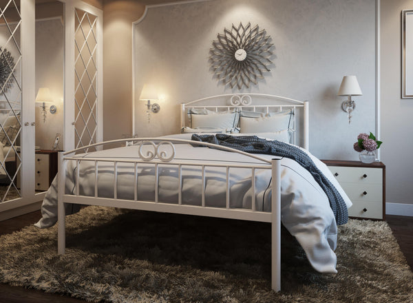 Austin Wrought Iron Bed (High) in Ivory