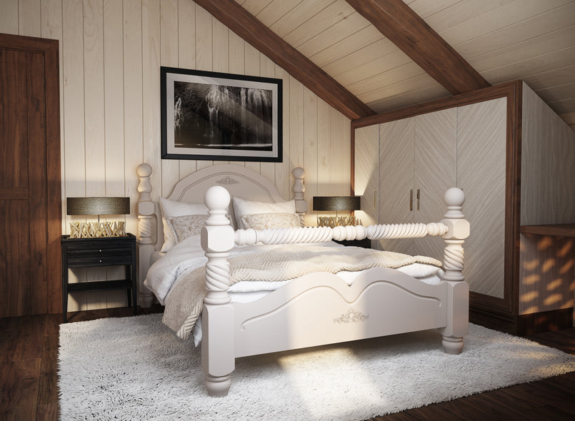 Illington Wooden Bed (High Rail) in White