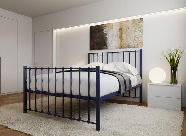 Norfolk Wrought Iron Bed (High) in Night Blue
