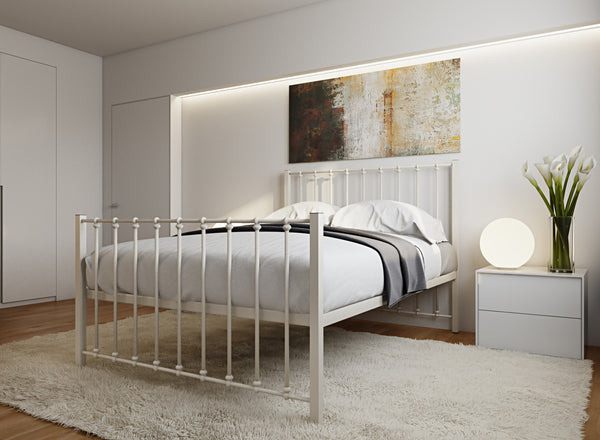 Norfolk Wrought Iron Bed (High) in Ivory
