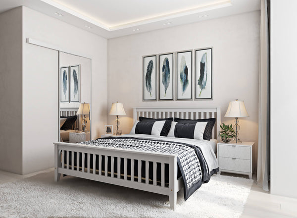 Coxford Wooden Bed in White