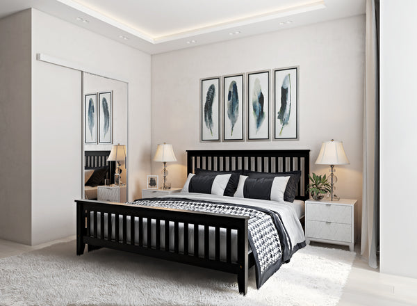 Coxford Wooden Bed in Black