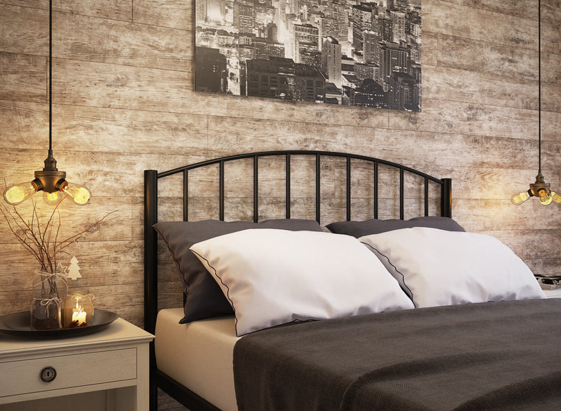 Memphis Wrought Iron Bed (Head) in Black