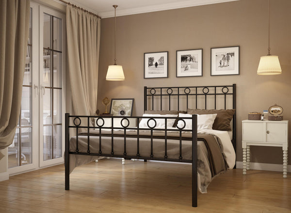 Indiana Wrought Iron Bed (High) in Black
