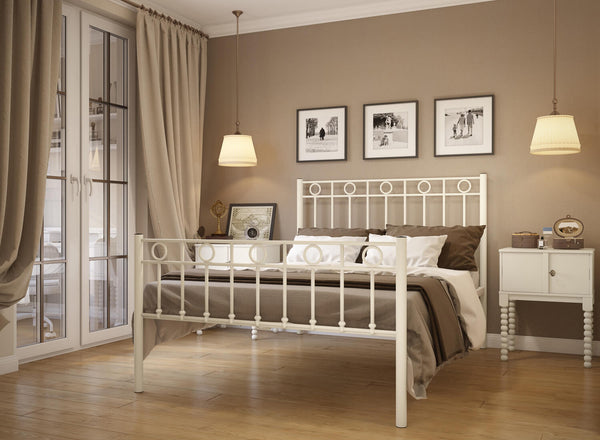 Indiana Wrought Iron Bed (High) in Ivory
