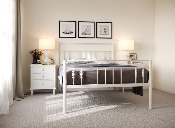 Georgia Wrought Iron Bed (High) in Ivory