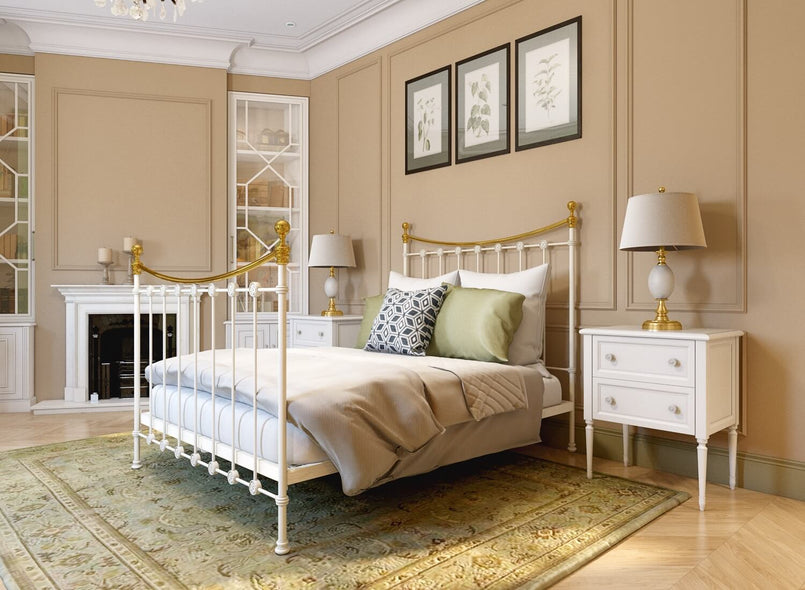 Elvelyn Wrought Iron Bed in Ivory