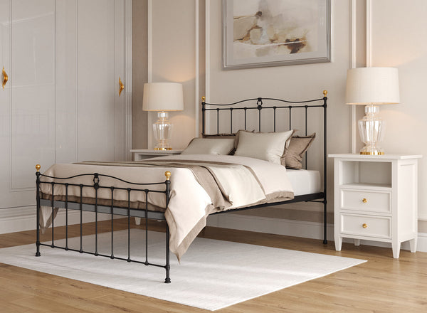 Tessa Wrought Iron Bed in Black