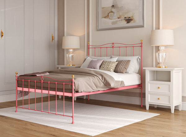 Tessa Wrought Iron Bed in Antique Pink