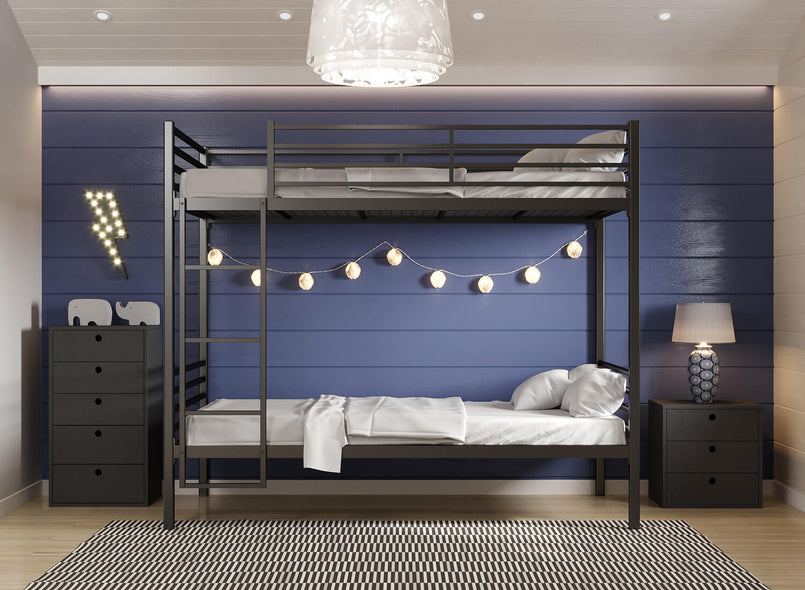 Bespoke Metal Bunk Bed in Black (Left)
