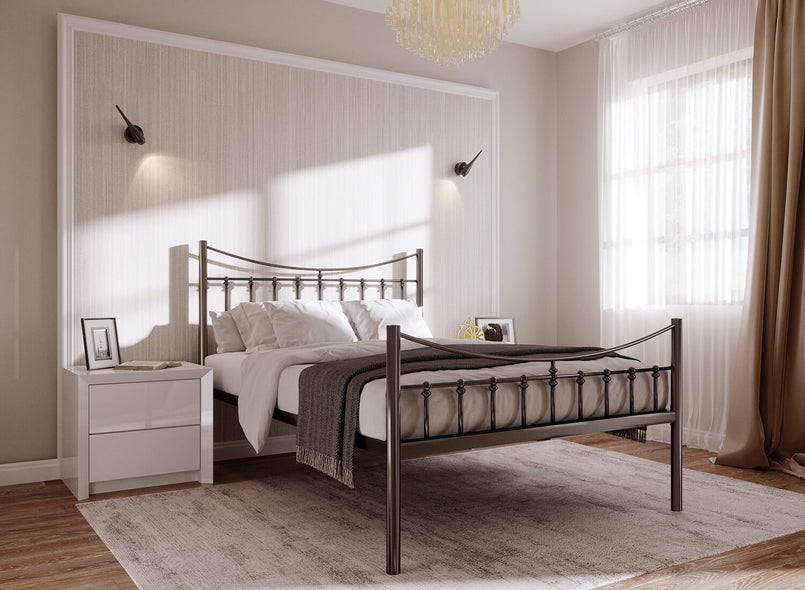 Bronx Wrought Iron Bed (High) in Black