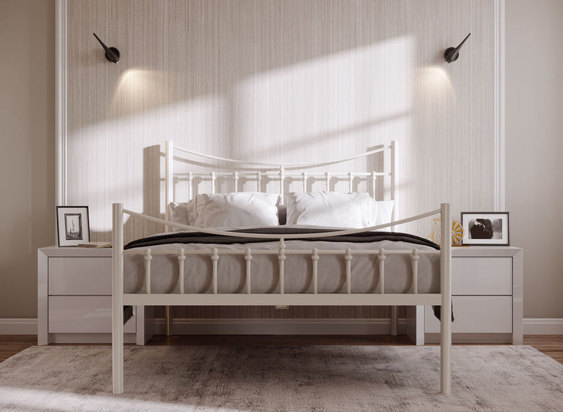 Bronx Wrought Iron Bed (High) in Ivory