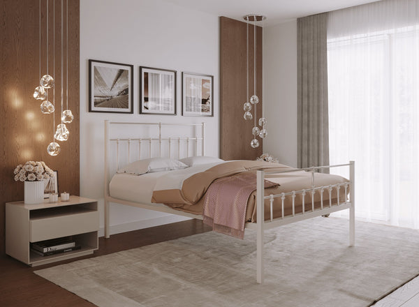 Lenox Wrought Iron Bed (High) in Ivory