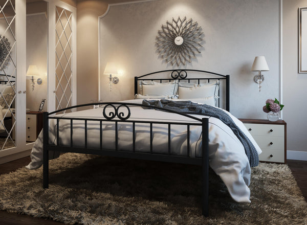 Austin Wrought Iron Bed (High) in Black