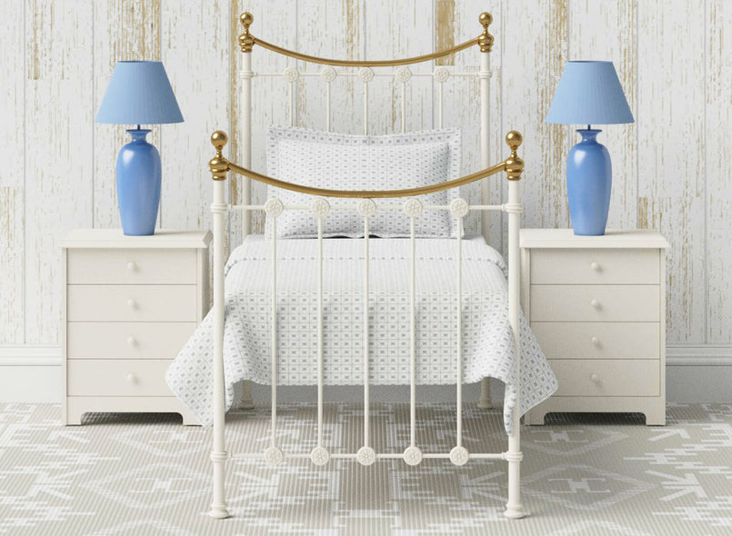 Elvelyn Wrought Iron Bed (Single) in Ivory