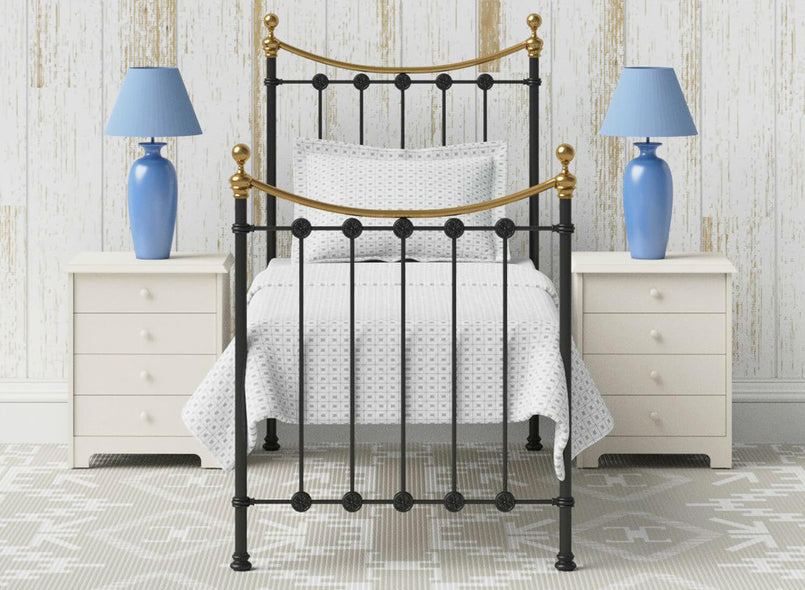 Evelyn Wrought Iron Bed (Single) in Black