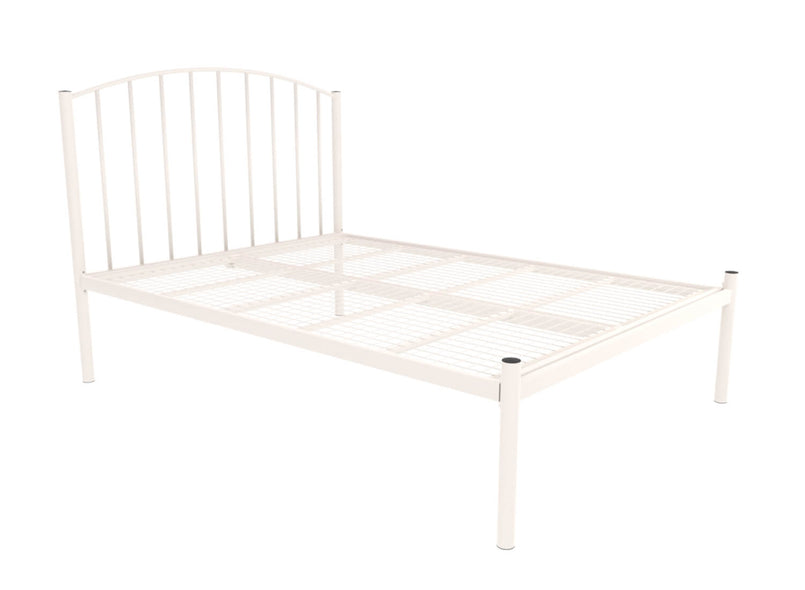 Memphis Wrought Iron Bed (Low) in Ivory