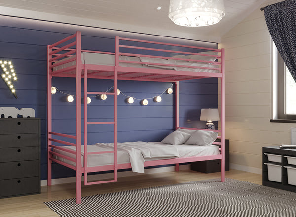 Children's Metal Bunk Bed in Light Pink (Left)