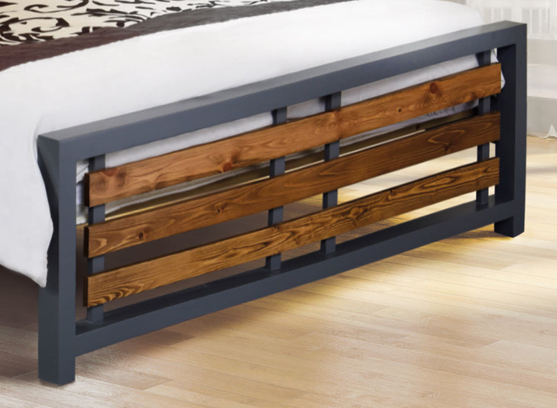 Narford Wooden Bed (Foot) in Slate + Antique