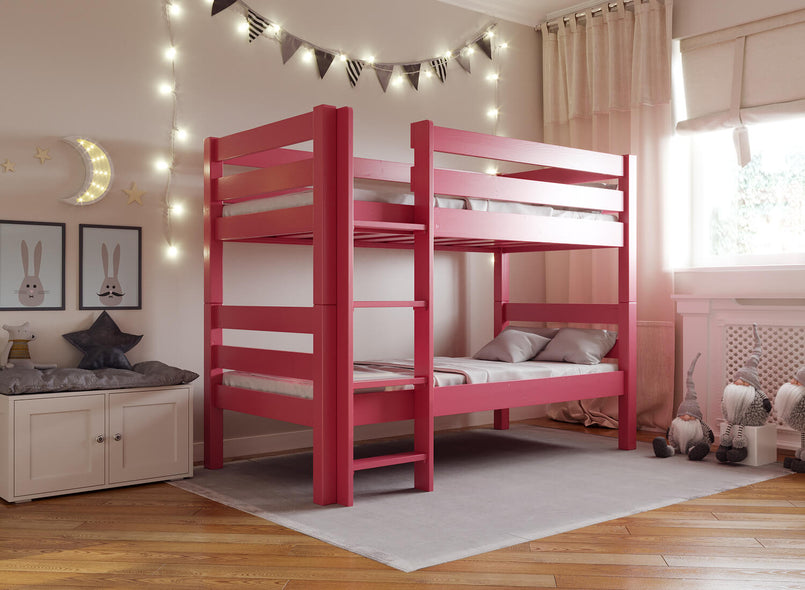 Children's Wooden Bunk Bed in Lake Red