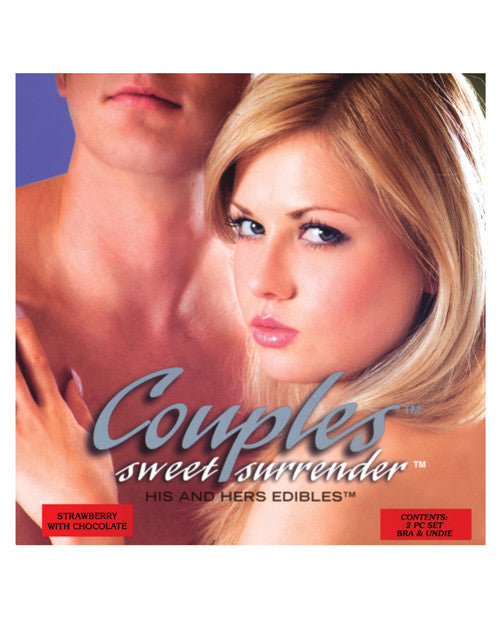 Couples Sweet Surrender His & Her Edible Undies - 2 Pc Set Strawberry W/chocolate