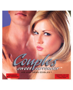 Couples Sweet Surrender His & Her Edible Undies - 3 Pc Set Strawberry W/chocolate