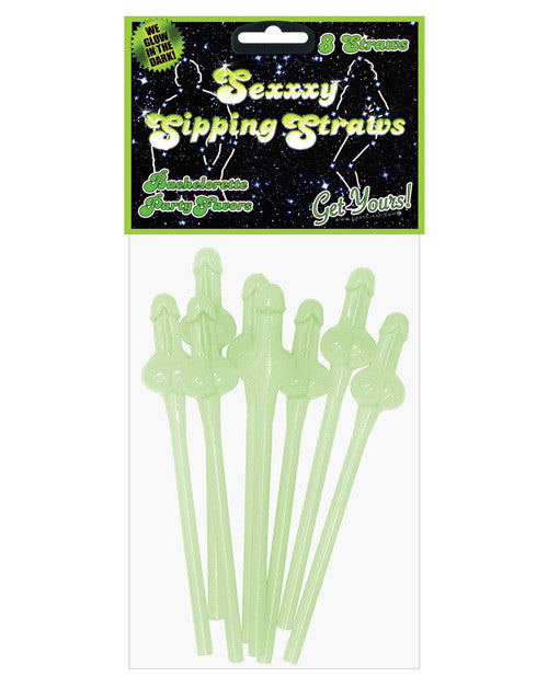 Bachelorette Sexxxy Sipping Straws - Glow In The Dark Pack Of 8