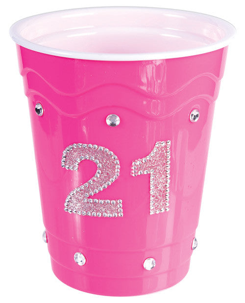 21 Birthday Plastic Cup W-clear Stones - Pink