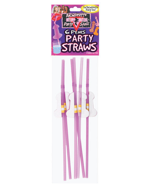 Bachelorette Penis Tissue Straws - Pack Of 6