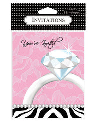 Bachelorette Party Diamond Invitations - Pack Of 8
