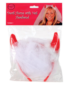 Bachelorette Fun Devil Horns W/veil Headband