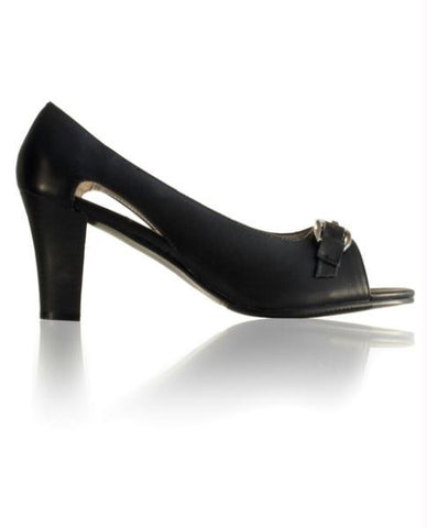 "Le Dame Shoes Sophie  2 3/4"" Open Toe Pump Leather Black Fourteen"