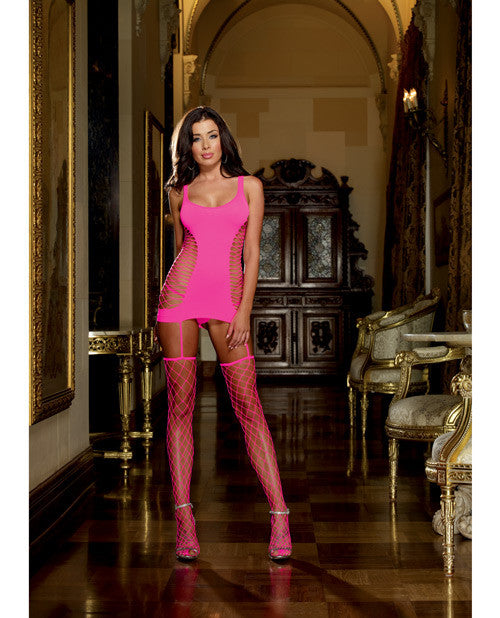 Opaque Fence Net Garter Dress W/attached Thigh High Stockings Neon Pink O/s